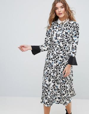 Closet London Платье с длинными рукавами и воротником. Цвет: мульти