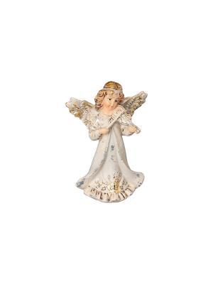 Фигурка декоративная Ангел со скрипкой Elan Gallery. Цвет: молочный, золотистый, серебристый, бежевый