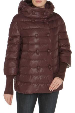 Полуприлегающая куртка со съемным капюшоном MALINARDI. Цвет: фиолетовый