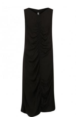 Платье-миди из смеси вискозы и хлопка с драпировкой Raquel Allegra. Цвет: черный