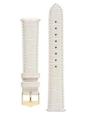 Классический ремешок для часов из кожи теленка с фактурой под аллигатора. Ширина 16 мм Signature. Цвет: молочный