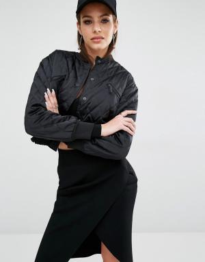 Kendall + Kylie Стеганая куртка-пилот. Цвет: черный