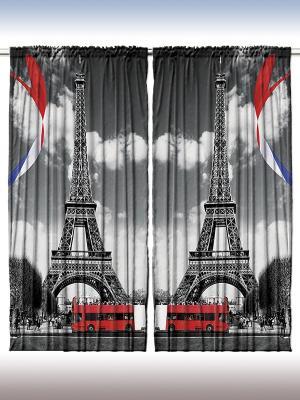 Комплект фотоштор из полиэстера высокой плотности Облака над городом, 290*265 см Magic Lady. Цвет: серый, красный