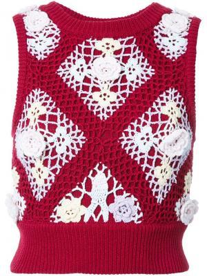 Вязаный топ с вышивкой Mikio Sakabe. Цвет: красный