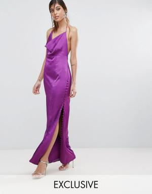 Fame and Partners Платье прямого кроя с пуговицами. Цвет: фиолетовый