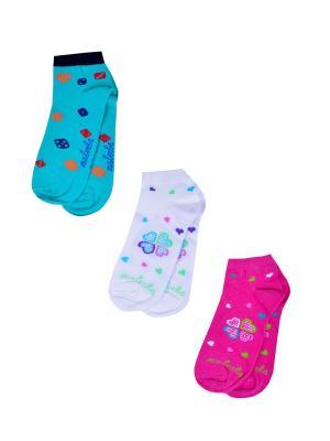 Носки женские,комплект 3шт Malerba. Цвет: салатовый, белый, розовый