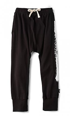 Мешковатые брюки с окрашенной вставкой Nununu. Цвет: черный