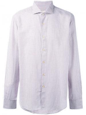 Рубашка с мелким узором Xacus. Цвет: белый