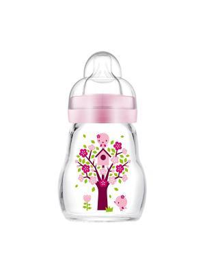 Бутылочка для кормления стеклянная, 170 мл + Соска  2 шт. от 2М+ в подарок MAM. Цвет: розовый