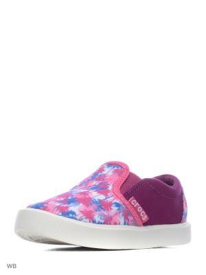 Слипоны CROCS. Цвет: розовый, фиолетовый