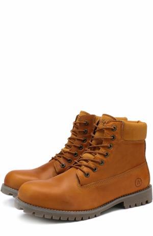 Кожаные ботинки New York на шнуровке Affex. Цвет: коричневый