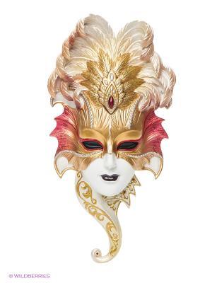 Венецианская маска Сова Veronese. Цвет: золотистый, белый, красный, черный