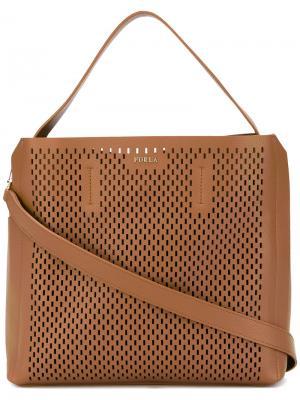 Перфорированная сумка с верхней ручкой Furla. Цвет: коричневый