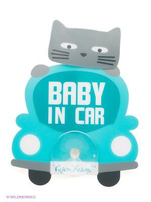 Наклейка на авто Baby in car Pets@work. Цвет: бирюзовый
