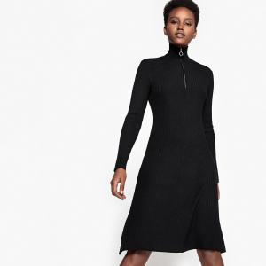 Платье трикотажное со стоячим воротником, на молнии спереди La Redoute Collections. Цвет: черный