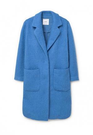 Пальто Mango. Цвет: голубой