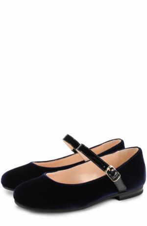 Текстильные туфли с кожаным ремешком Il Gufo. Цвет: синий
