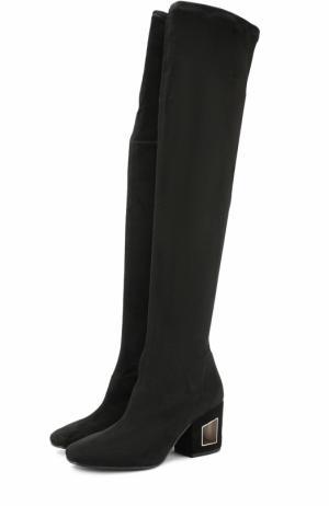 Замшевые ботфорты на фигурном каблуке Vic Matie. Цвет: черный