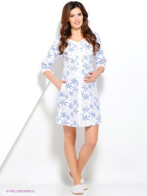 Халат для беременных ФЭСТ. Цвет: белый, голубой