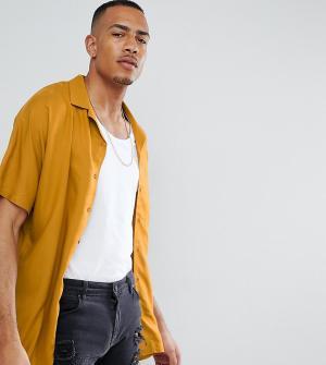 ASOS Oversize-рубашка горчичного цвета из вискозы DESIGN Tall. Цвет: желтый