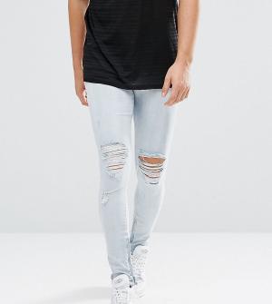 Granted Голубые джинсы скинни с рваной отделкой и молниями. Цвет: синий