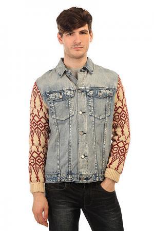 Куртка джинсовая  Revival Bleach Blue Classic Trash Insight. Цвет: голубой,бежевый,бордовый