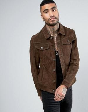 Goosecraft Замшевая куртка в стиле вестерн. Цвет: коричневый