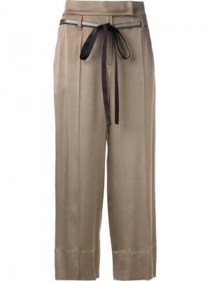 Укороченные брюки с поясом Brunello Cucinelli. Цвет: коричневый