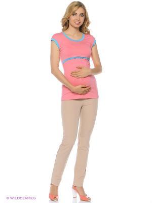 Футболка для беременных 40 недель. Цвет: розовый
