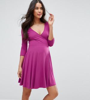 ASOS Maternity - Nursing Платье с запахом для беременных. Цвет: черный