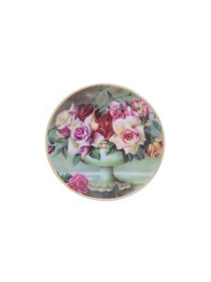 Тарелка декоративная Букет из роз Elan Gallery. Цвет: зеленый, розовый