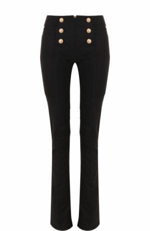 Однотонные расклешенные джинсы с декоративной отделкой Balmain. Цвет: черный