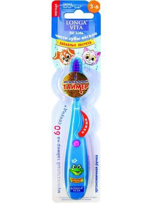 Детская зубная щётка музыкальная, ЗАБАВНЫЕ ЗВЕРЯТА Longa Vita. Цвет: синий