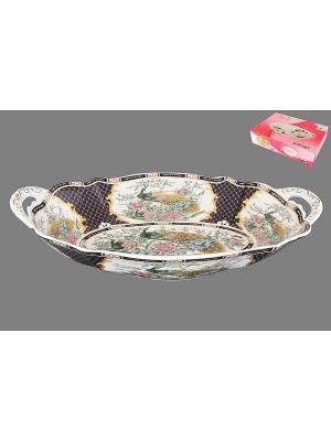 Блюдо Павлин на золоте Elan Gallery. Цвет: золотистый, белый, темно-синий