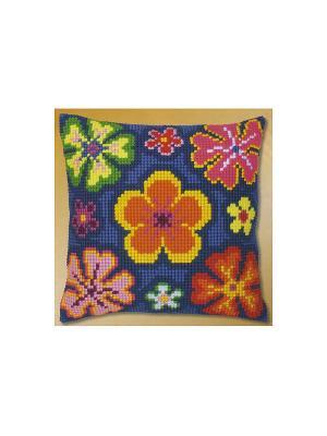 Набор для вышивания лицевой стороны наволочки Цветочный орнамент 40*40см Vervaco. Цвет: синий, желтый, зеленый, оранжевый, розовый