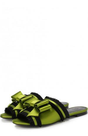 Текстильные сабо Matilda с бантом Aleksandersiradekian. Цвет: зеленый
