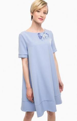Синее платье расклешенного силуэта POIS. Цвет: синий