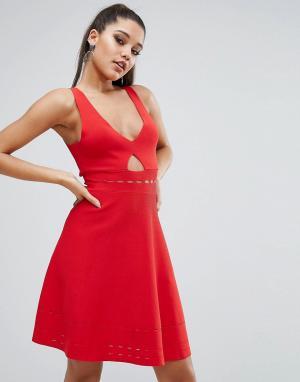 Kendall + Kylie Ажурное платье с открытой спиной. Цвет: красный