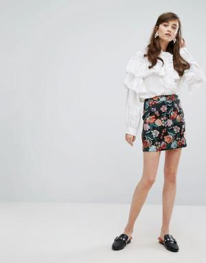 Sister jane Жаккардовая мини-юбка с цветочным узором. Цвет: мульти