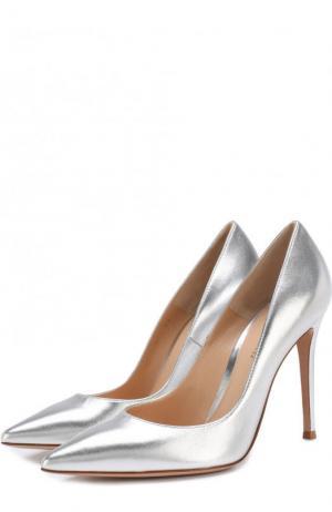 Туфли Gianvito 105 из металлизированной кожи на шпильке Rossi. Цвет: серебряный