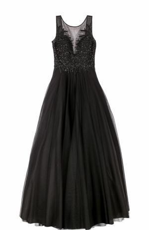 Платье-макси без рукавов с вышивкой Basix Black Label. Цвет: черный