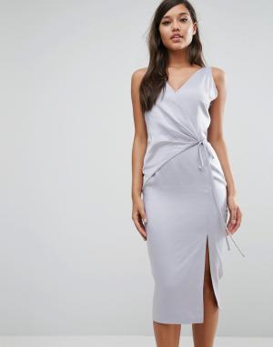 Lavish Alice Атласное платье миди. Цвет: синий