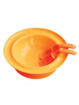 Тарелка 250 мл. с присоской вилкой и ложкой от 6 мес. LUBBY. Цвет: оранжевый