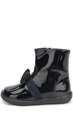 Лаковые ботинки с бантом Clarys. Цвет: синий