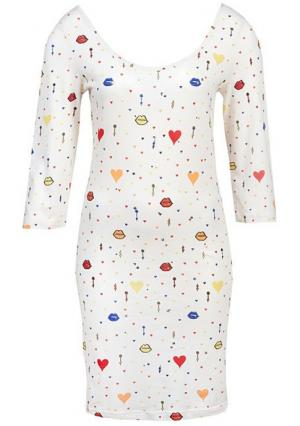 Платье Y.O.U.. Цвет: цвет белой шерсти с рисунком