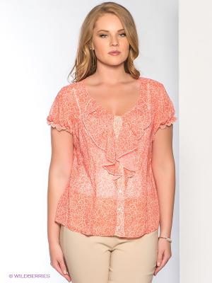 Блузка Forus. Цвет: оранжевый, белый