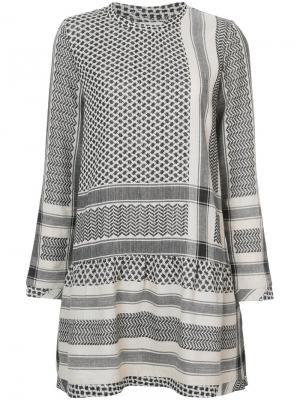 Платье с комбинированным узором Cecilie Copenhagen. Цвет: телесный