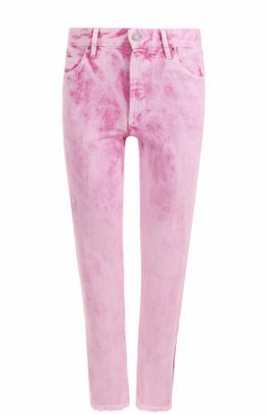 Укороченные джинсы прямого кроя с потертостями Isabel Marant Etoile. Цвет: розовый