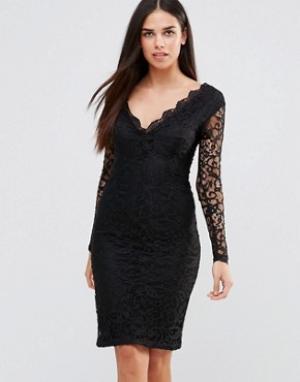 Girl In Mind Кружевное платье мини. Цвет: черный