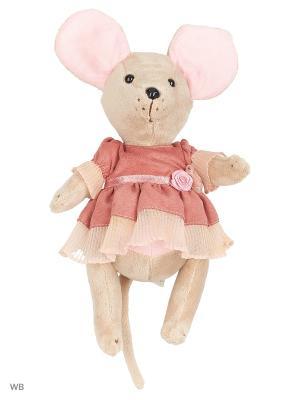 Мышка шарнирная Lady mouse Лакомка в коралловом платье Fluffy Family. Цвет: розовый, серый